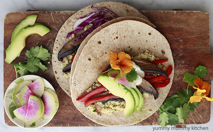 Millet Tacos with Portobello Mushrooms and Red Peppers