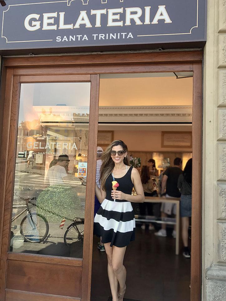 Eating gelato at Gelateria Santa Trinita in Florence, Italy.