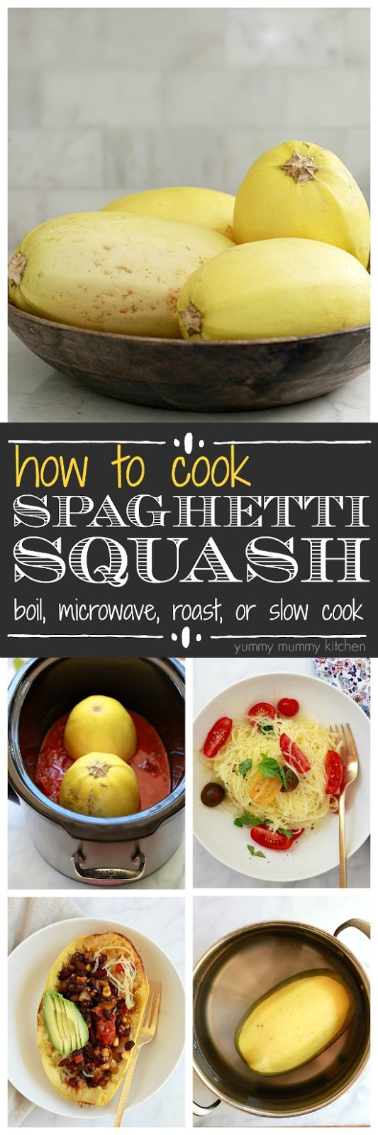 The BEST ways to cook spaghetti squash. Spaghetti squash is easy to make in oven, slow cooker, microwave, or boiled on the stove.