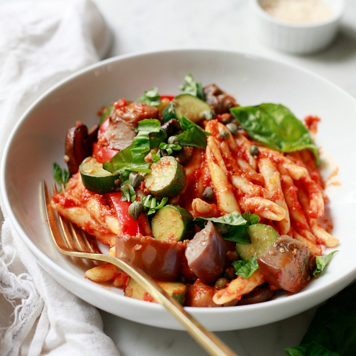 A delicious one-pot pasta with marinara sauce and fresh eggplant and zucchini.