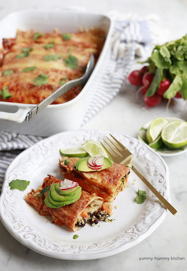 Quinoa, Black Bean, Sweet Potato Enchiladas