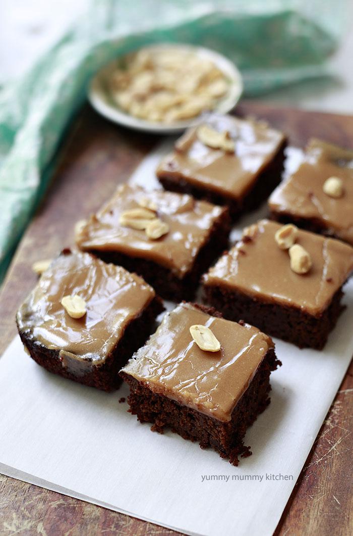 vegan almond flour brownies with peanut butter glaze