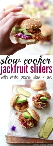 Slow Cooker Jackfruit Sandwich Recipe with beans and coleslaw.