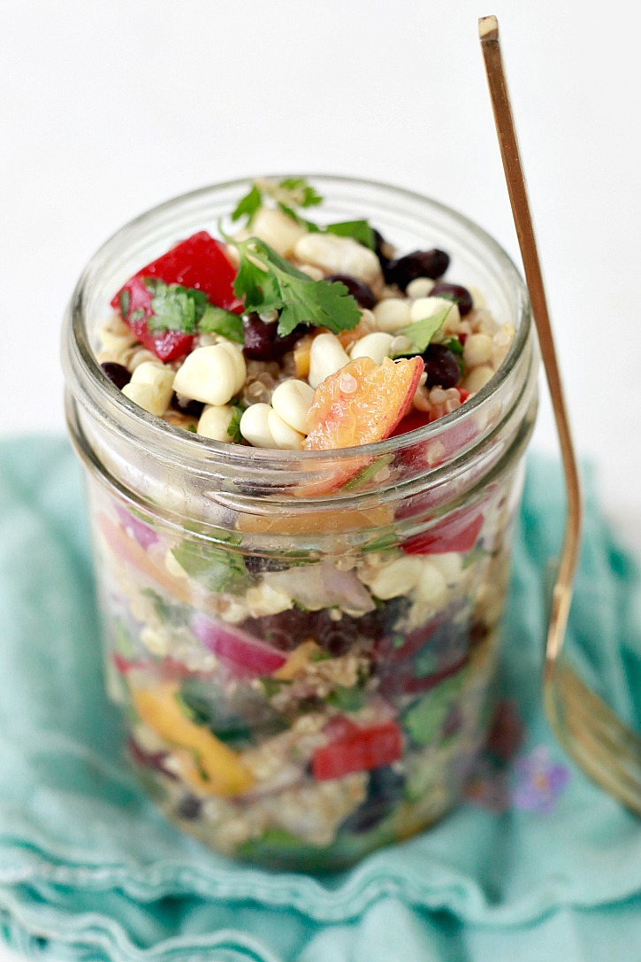 A jar of this Mexican inspired vegan quinoa salad makes a delicious healthy lunch.