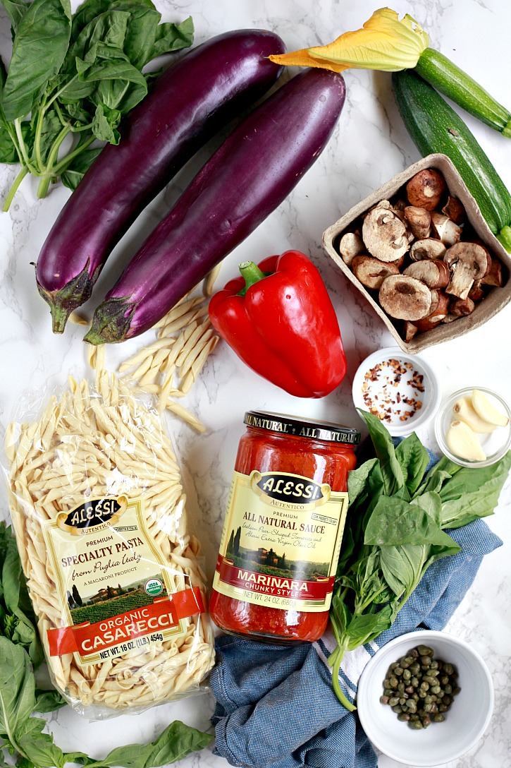 Ingredients for an easy summer vegetable pasta marinara
