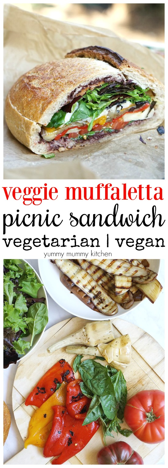 Vegetarian and vegan muffaletta stuffed picnic sandwich