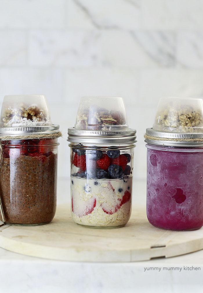 Three make-ahead vegan mason jar recipes. Smoothie, chia pudding, and overnight oatmeal.