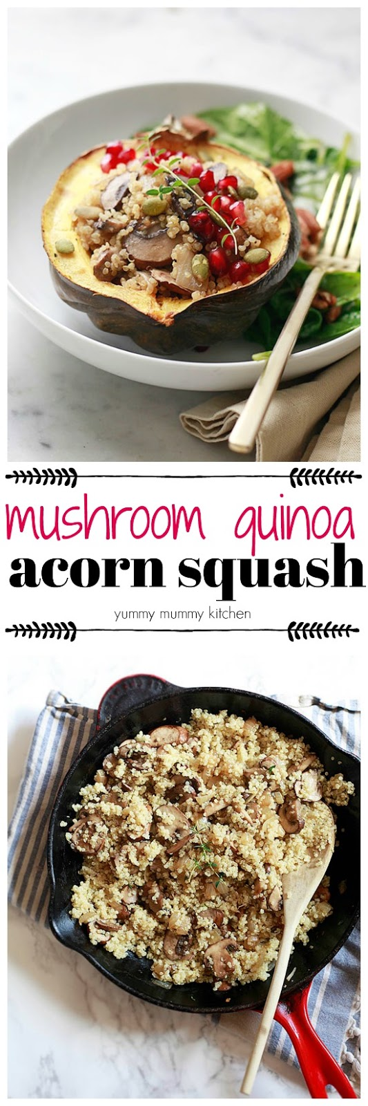 Roasted acorn squash filled with hearty mushroom quinoa makes a delicious vegetarian and vegan autumn dinner perfect for Thanksgiving or any night!