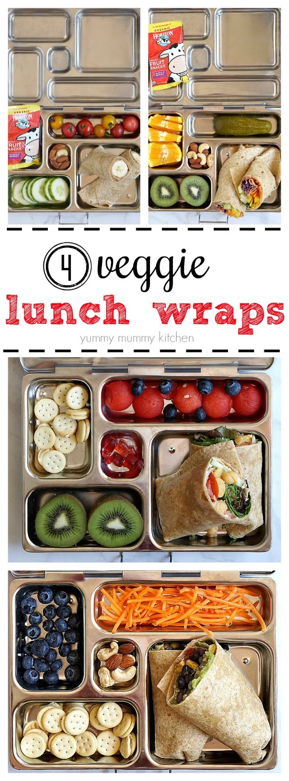 Four veggie tortilla wraps and packed lunch boxes for kids or adults.