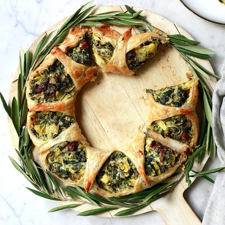 Spinach Artichoke Puff Pastry Wreath