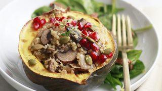 Mushroom Quinoa Stuffed Acorn Squash