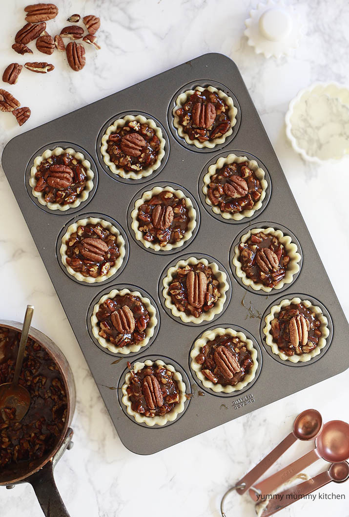 Cute mini pecan pies baked in a mini tart pan.