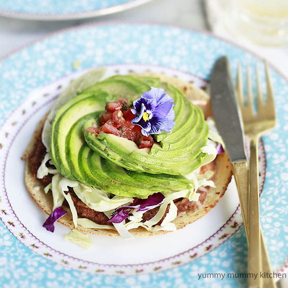 Vegetarian Tostadas with Avocado Roses