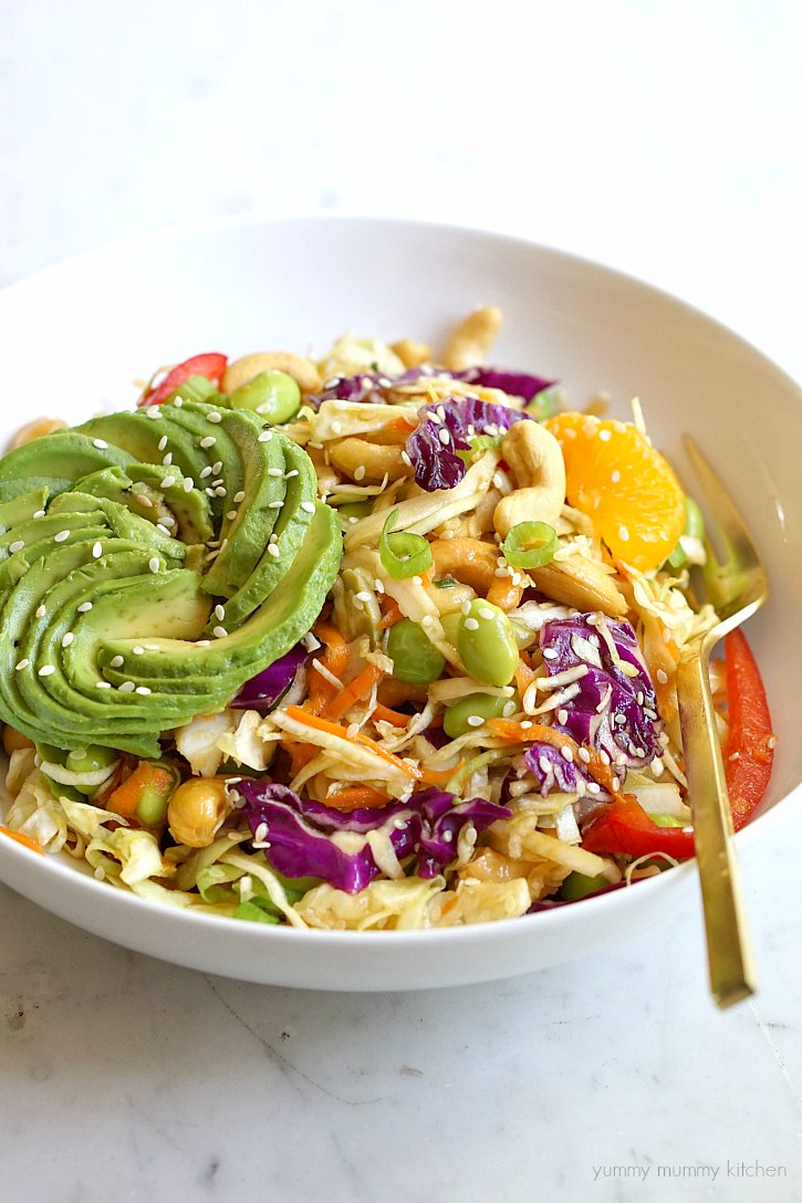 This healthy vegetarian and vegan Asian inspired salad with sesame ginger dressing makes a delicious lunch or dinner.