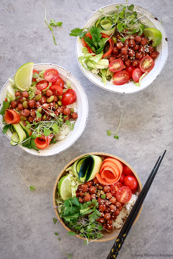 These Korean BBQ Chickpea bowls are so colorful and delicious. They are one of my favorite Buddha bowls.
