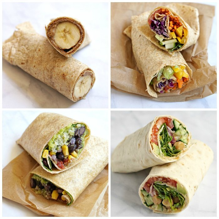 Four tortilla wrap ideas for lunch at home or on the go.