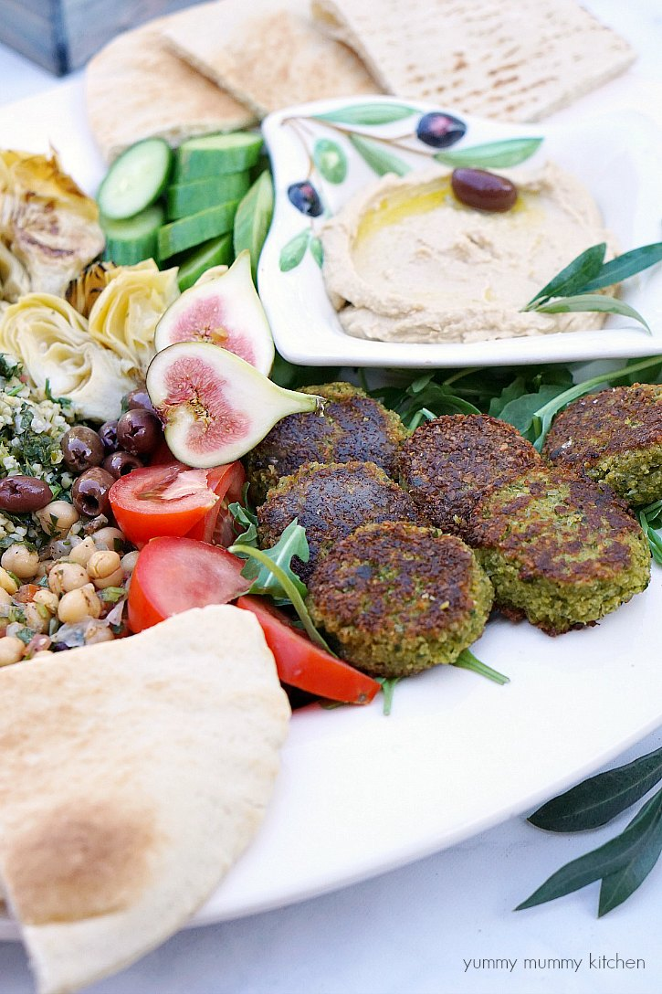 These baked vegan falafel are delicious with hummus on a mezze platter.