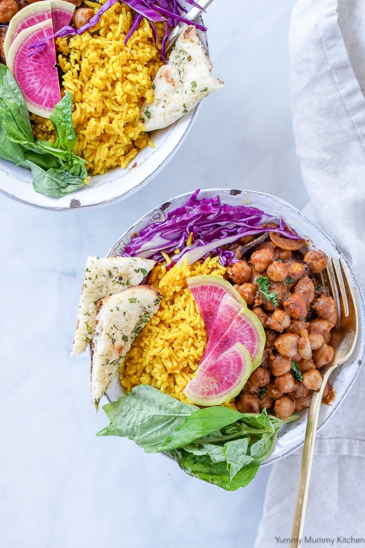 Chana Masala Indian chickpea curry with rice is a hearty and delicious vegan meal prep bowl idea.