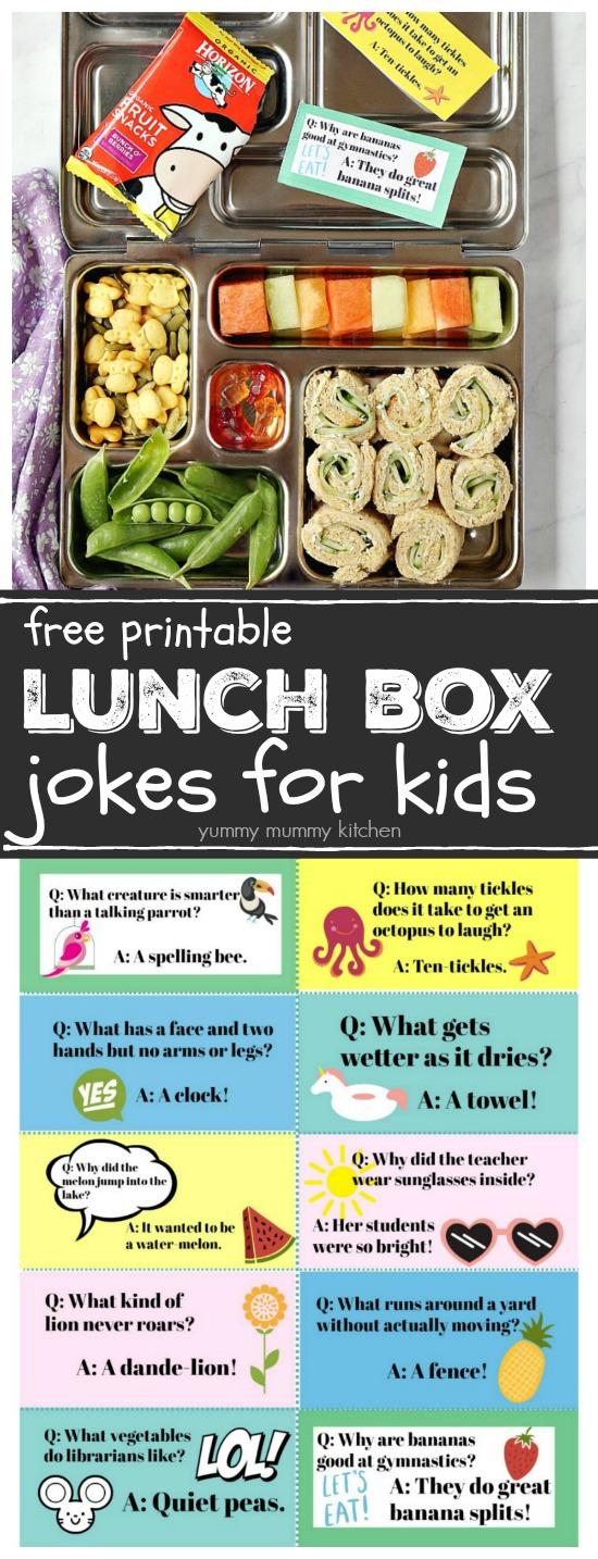 Free printable lunch box jokes for kids.