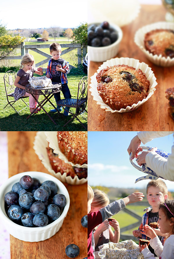 Kids eating blueberry banana muffins at a tea party in Los Olivos, CA.