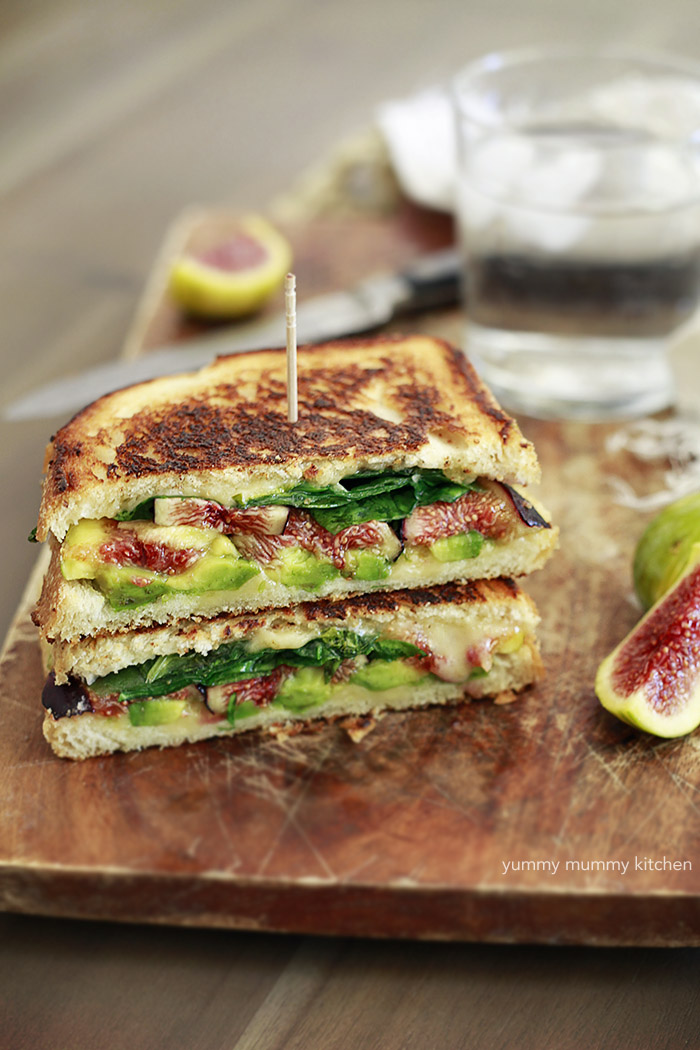 This grilled cheese sandwich filled with avocado, spinach, and a touch of sweetness from fresh figs is pure deliciousness.
