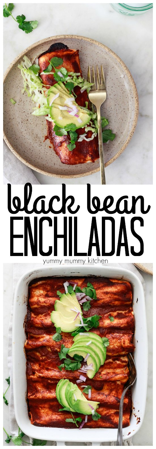 The BEST vegetarian or vegan enchiladas stuffed with black beans, corn, and peppers, and topped with avocado.
