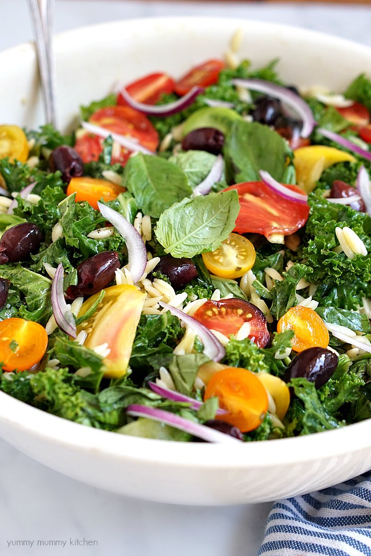 Close-up of a healthy kale salad with tomatoes, orzo, olives, and red onion slices.