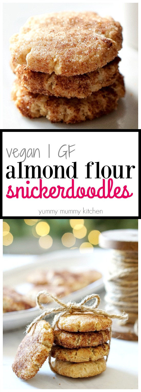 This almond flour snickerdoodle cookie recipe is so good! They are light, soft, and delicious. You won't believe these cookies are vegan and gluten free.