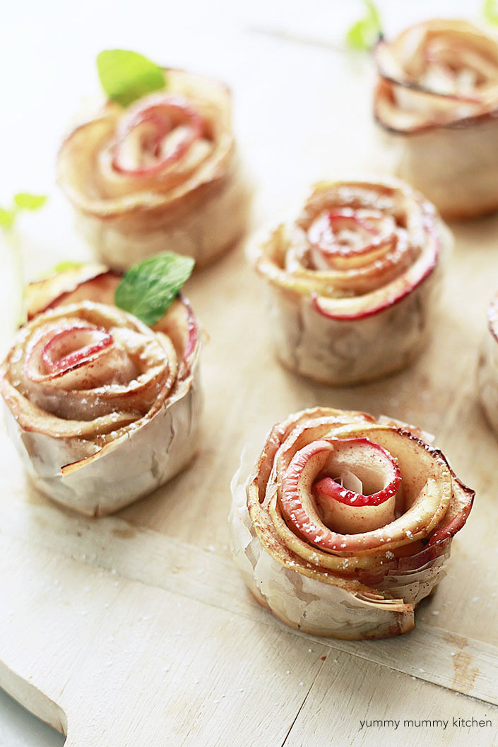Beautiful photo of baked apple pastry roses made with phyllo dough.