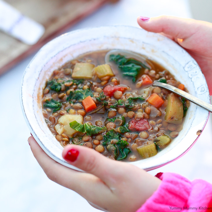A hearty and delicious lentil vegetable soup made easy in the Instant Pot. Instant Pot lentil soup is a healthy plant based vegan dinner.