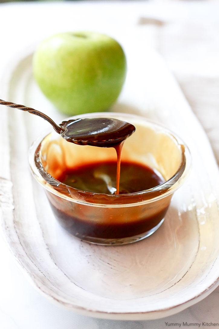 Delicious caramel sauce naturally made vegan and paleo with canned coconut milk and coconut sugar.