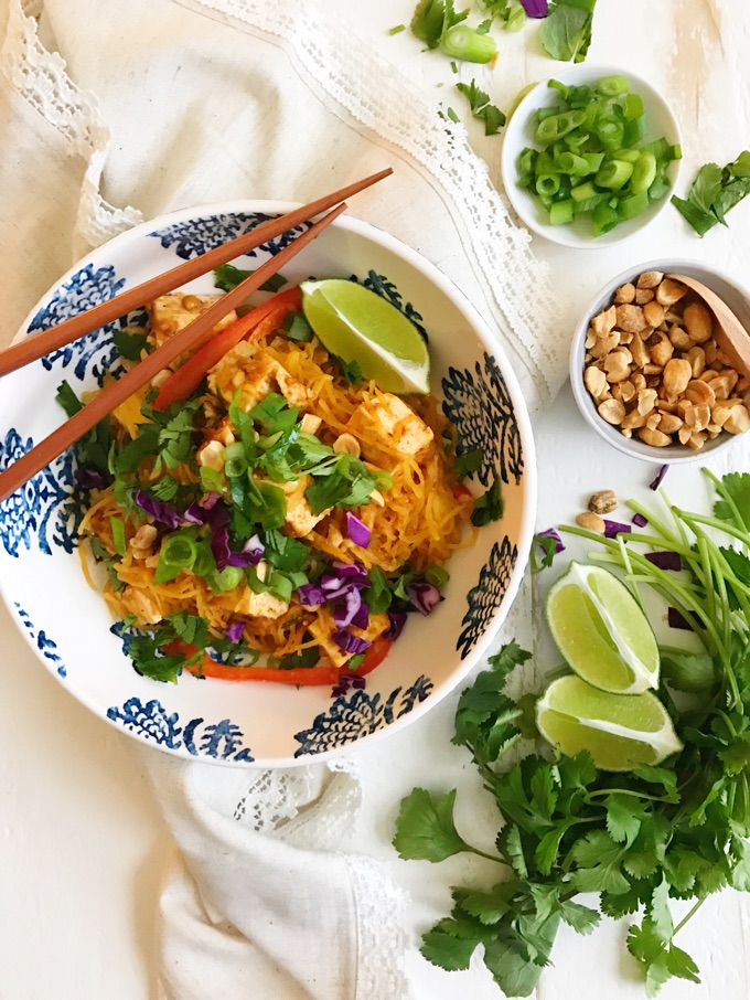 This spaghetti squash Pad Thai with tofu, peanuts and herbs looks so delicious!