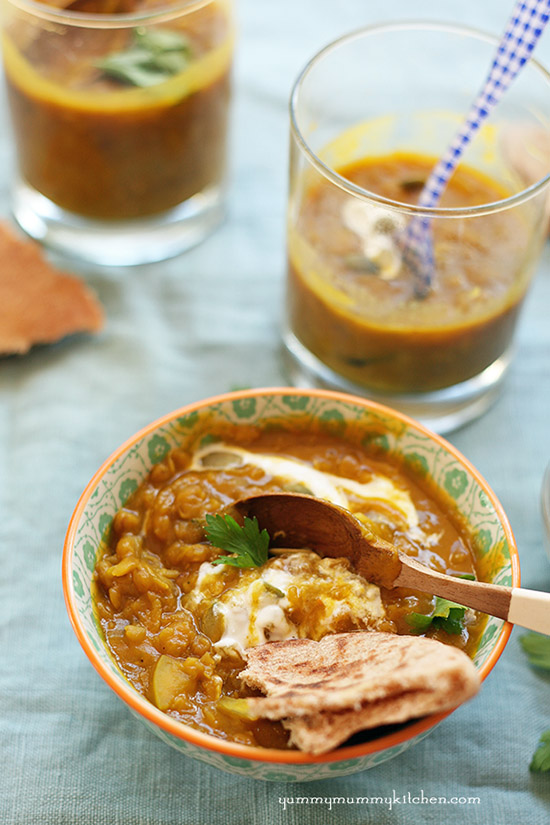 Red lentil soup with curry and pumpkin.