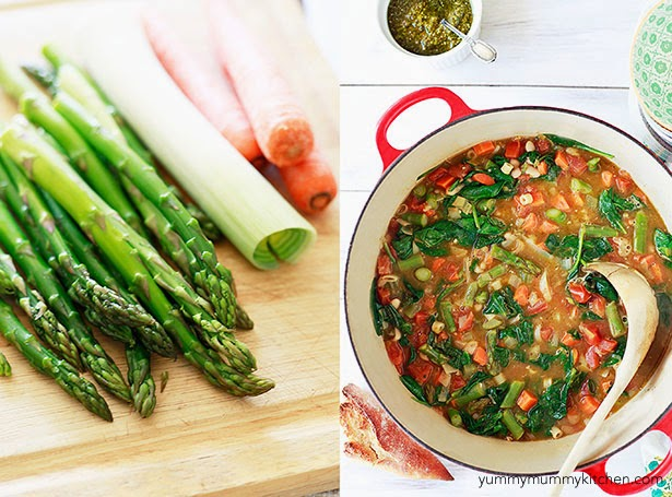 Spring vegetable minestrone soup recipe with asparagus, leeks, and carrots.