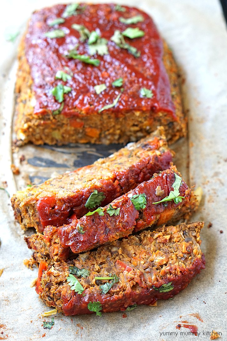 "A vegan lentil ""meatloaf"" cut into slices."