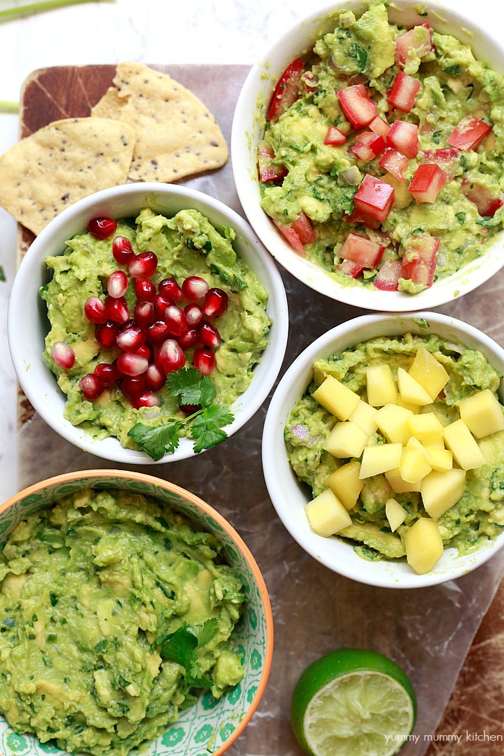 Guacamole bar with mango, pomegranate, and tomato.