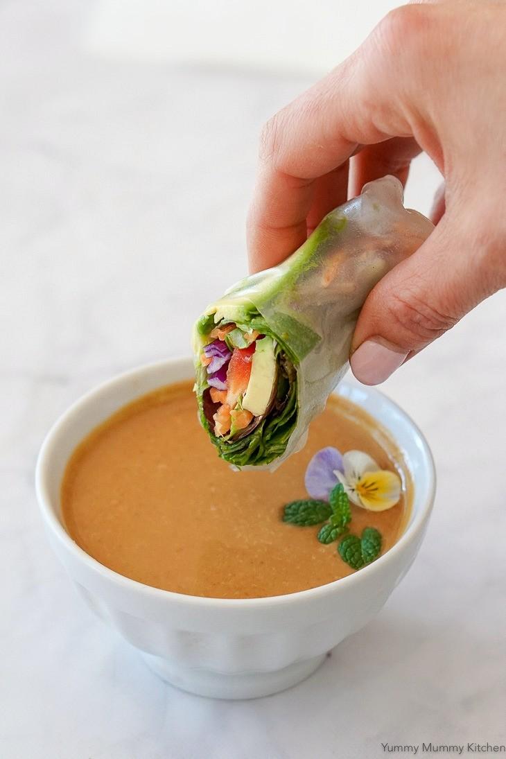 Vegan rice paper spring or summer rolls with peanut sauce.