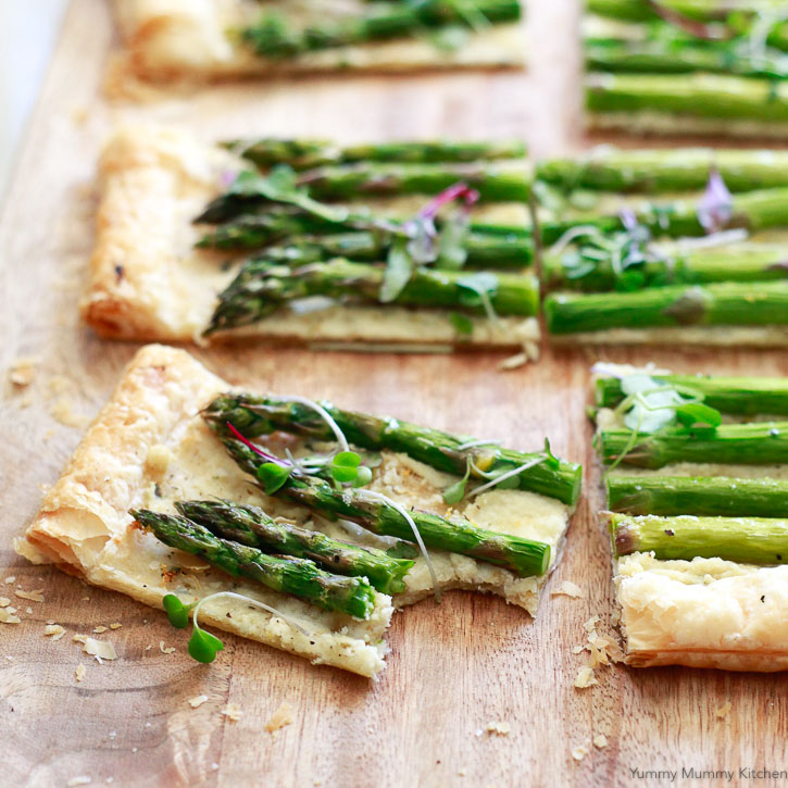 This delicious puff pastry asparagus tart is a beautiful appetizer that is simple and easy to make.