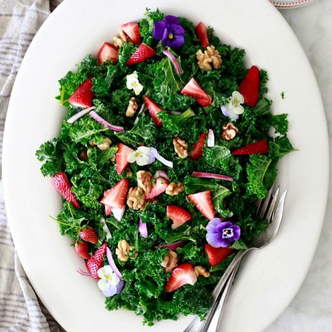Kale Salad with Strawberries and Walnuts