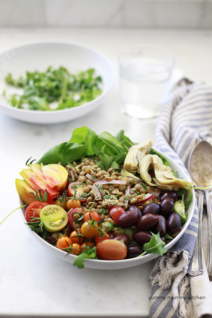 green lentil salad with tomatoes and mustard vinaigrette