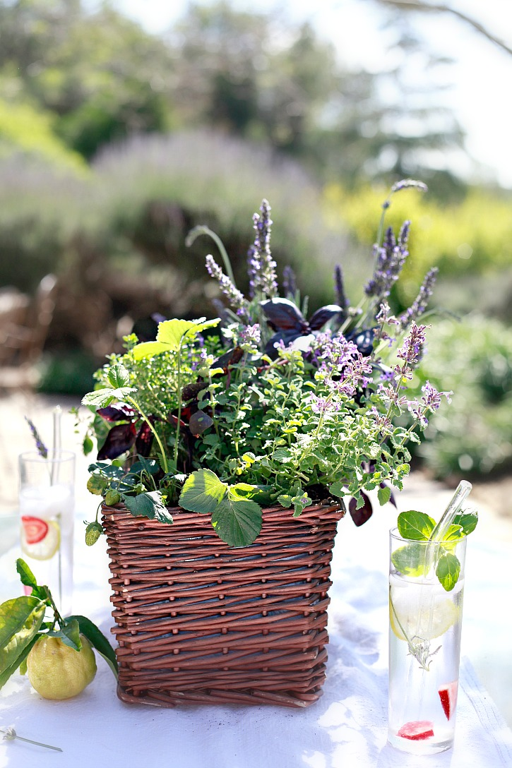 An herb garden basket makes a beautiful and edible table centerpiece.