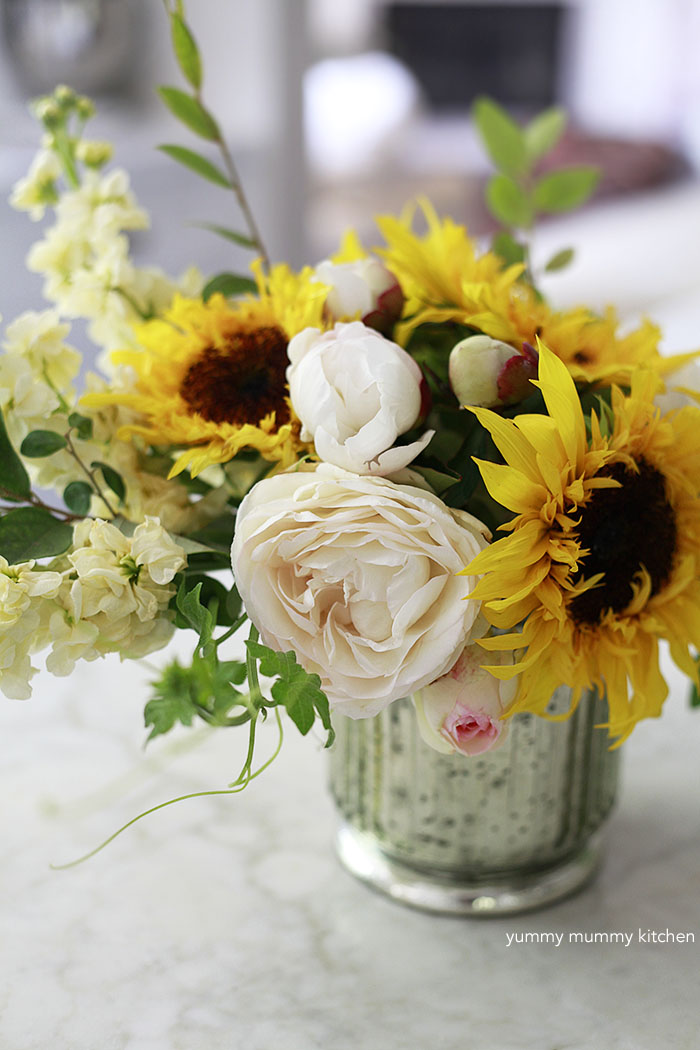 sunflower and peony centerpiece