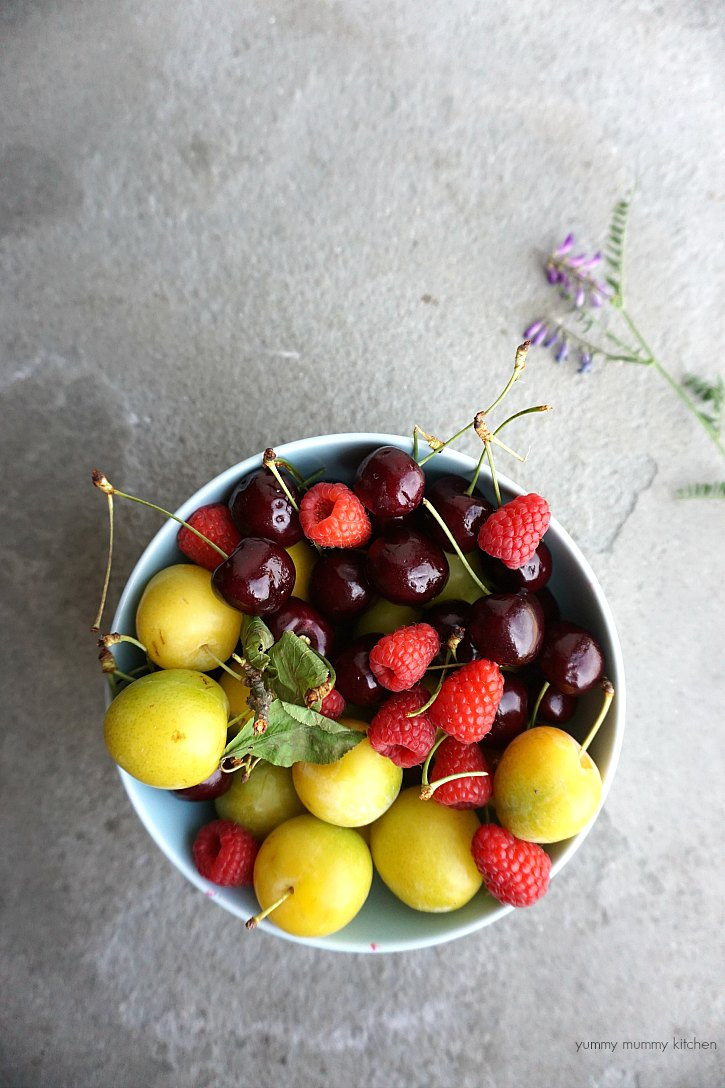 A bowl of beautiful summer fruit from Tuscany Italy.