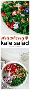 Kale salad recipe with strawberries, walnuts, red onions, and edible flowers.