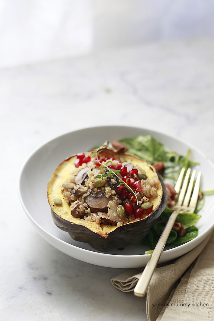 Mushroom Quinoa Stuffed Acorn Squash is a beautiful and healthy vegan main course for Thanksgiving or Christmas.