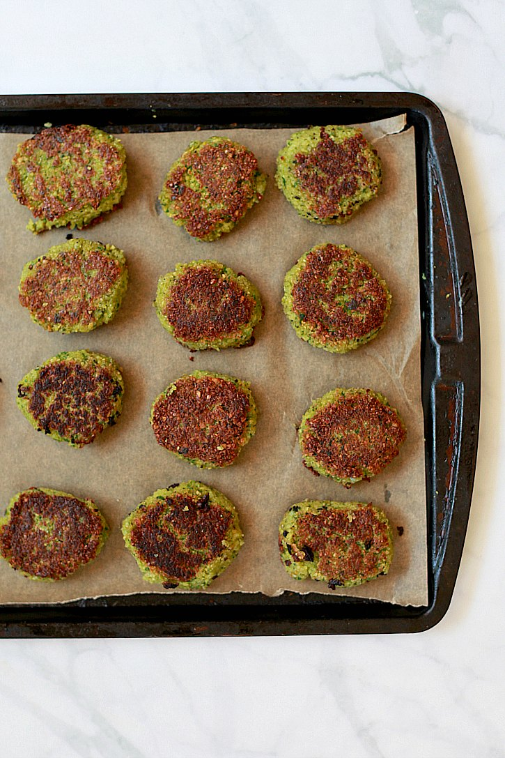 This healthier falafel recipe uses less oil than most. Patties get browned and then baked in the oven.