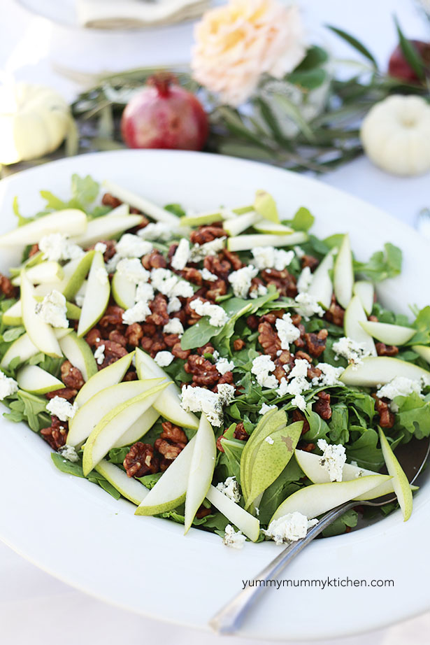 Thanksgiving salad with pears and walnuts