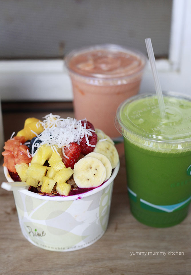 pitaya bowl and juices at Living Foods Kauai