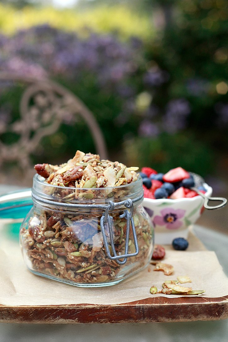 Light and crispy grain free granola made with seeds, nuts, coconut oil, and maple syrup.
