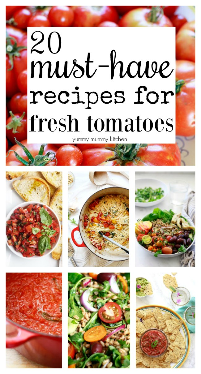 20 delicious recipes that use fresh tomatoes, from salsa, to sauce, to spaghetti, salad, and more.